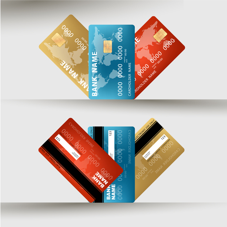 visa credit card: Vector illustration of detailed credit card visa