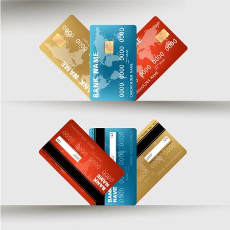 visa credit card: Vector illustration of detailed credit card visa