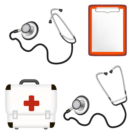 phonendoscope: Set of medical instruments and medicament. Vector illustration Illustration