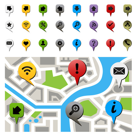 route map: City map with navigation icons. Vector illustration Illustration