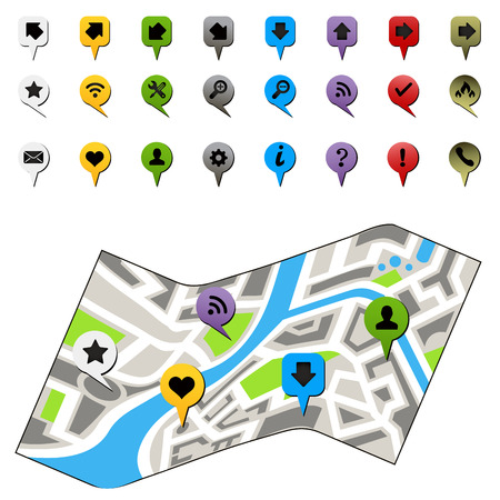 navigation icons: City map with navigation icons. Vector illustration Illustration