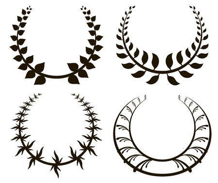 black wreath: Set from black laurel wreath on white background. Vector illustration Illustration