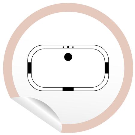 vaporarium: Flat bath icon on sticker for floor plan outline. Line editable EPS10 vector furniture illustration. View from above Illustration