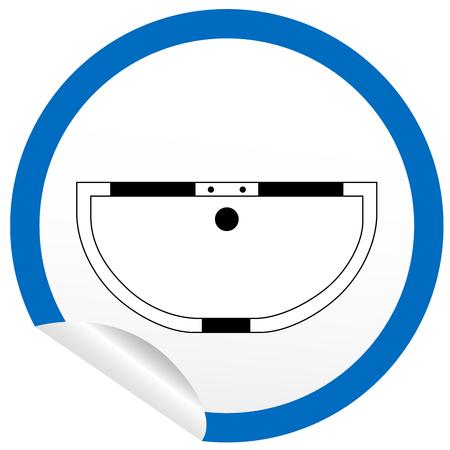 floor plan: Flat bath icon on sticker for floor plan outline. Line editable EPS10 vector furniture illustration. View from above Illustration