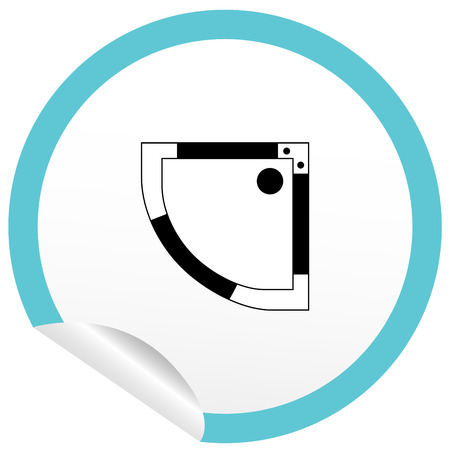 vista desde arriba: Icono de ba�o plana en la pegatina de contorno plano de planta. L�nea EPS10 editable muebles ilustraci�n vectorial. Vista desde arriba Vectores