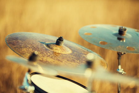 Close up ride cymbal in outdoors