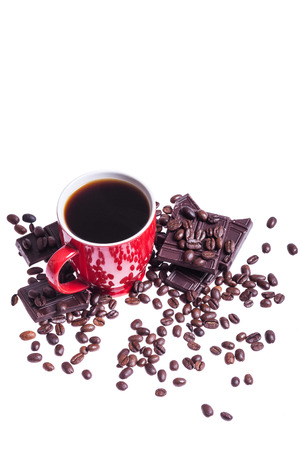 Coffe with chocolate and coffe beans on white background photo
