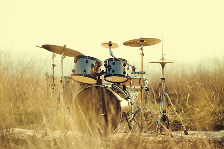 Photography Drum set in the field Stock Photo