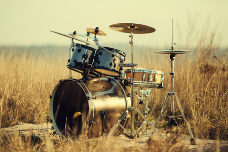 cymbal: Drum set on fresh air Stock Photo