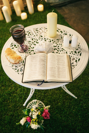 wine register: Wedding bible on white table