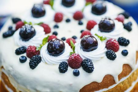Fruit on the blueberry cake
