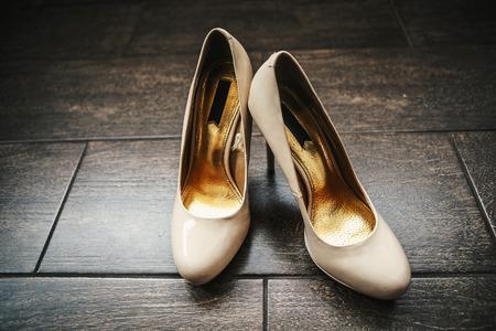 no heels: Beige wedding shoes Stock Photo