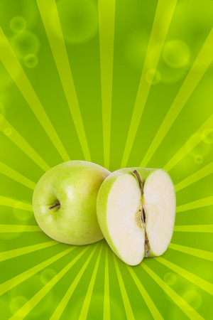 half apple: Green apple and half apple beside him on white background Stock Photo
