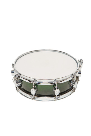 snare: Snare drum green on a white background without sticks