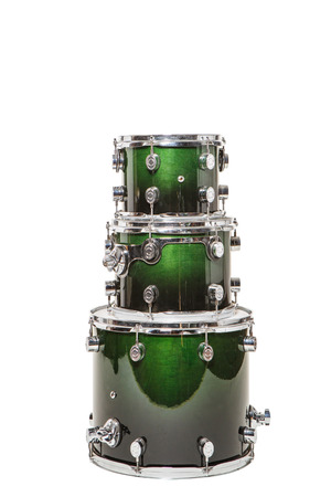 mount tom: Three different drum green stand on each other