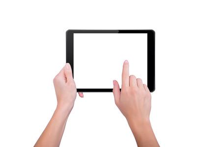 dedo: Chica tocando con un dedo a la tableta