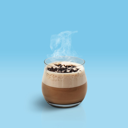 glace: Glace coffe on blue background
