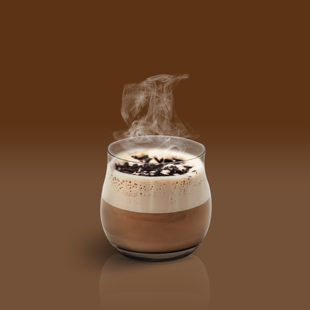 glace: Cup of glace coffee on brown background