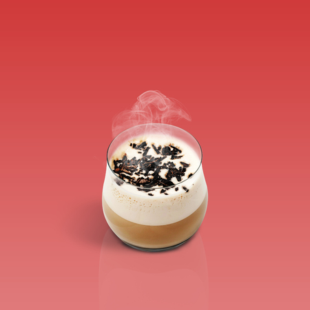 glace: Cup of glace coffee isolated on red background