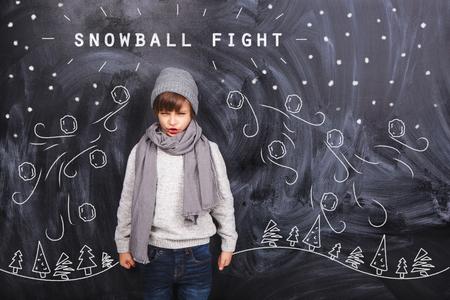 pelea: sueños de muchacho de una bola de nieve Foto de archivo
