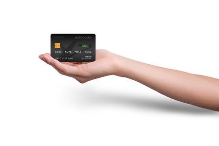 손에 격리 된 검은 신용 카드