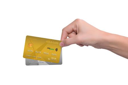 여자 손에서 격리 된 금색과 회색 신용 카드