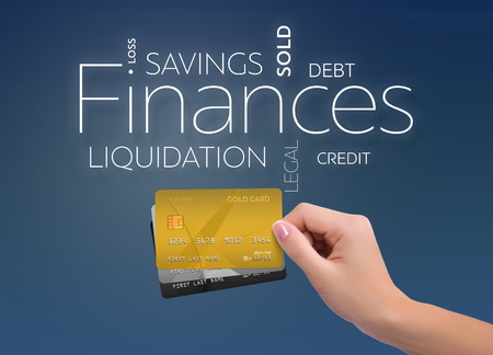 Business text on blue background with three credit card
