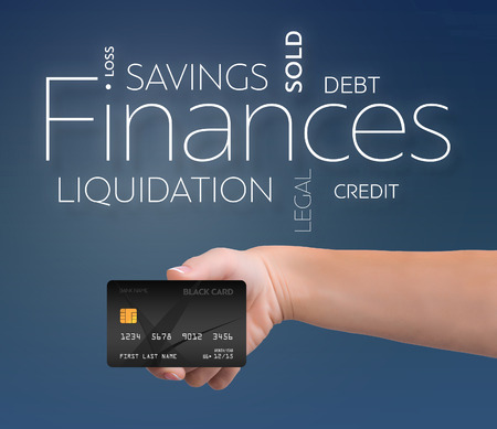 Business text on blue background with black credit card 版權商用圖片