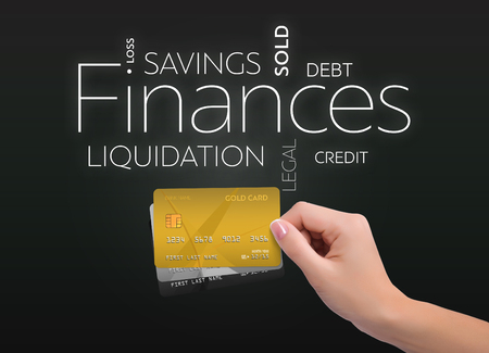 Business text on black background with three credit card
