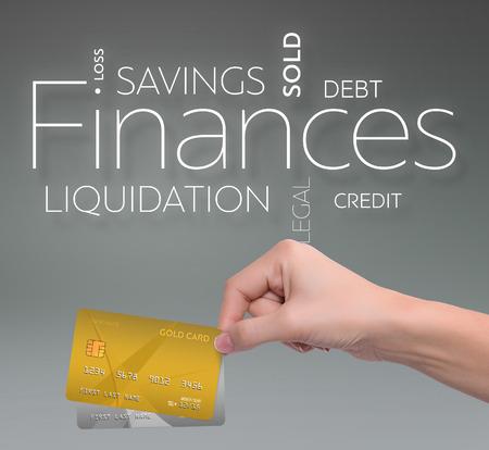두 신용 카드로 회색 배경에 비즈니스 텍스트