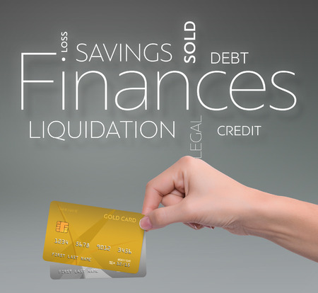 Business text on gray background with two credit card 版權商用圖片