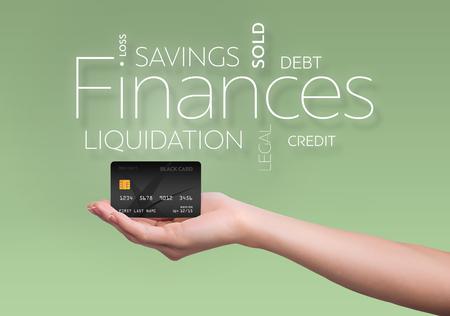검은 색 신용 카드로 녹색 배경에 비즈니스 텍스트 스톡 콘텐츠