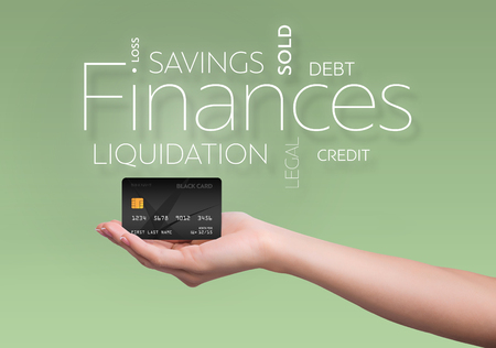 current account: Business text on green background with black credit card Stock Photo