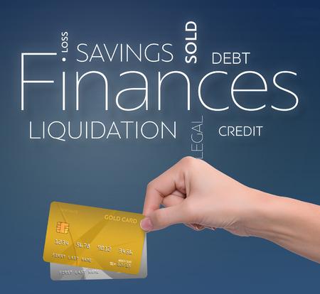 두 신용 카드로 파란색 배경에 비즈니스 텍스트