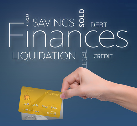 Business text on blue background with two credit card 版權商用圖片