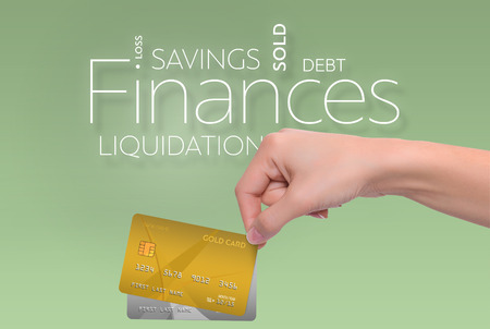 dividend: Business text on green background with two credit card Stock Photo