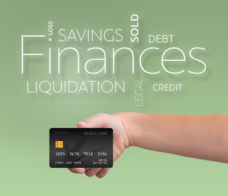 Business text on green background with black credit card 版權商用圖片