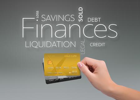 세 신용 카드와 회색 배경에 비즈니스 텍스트