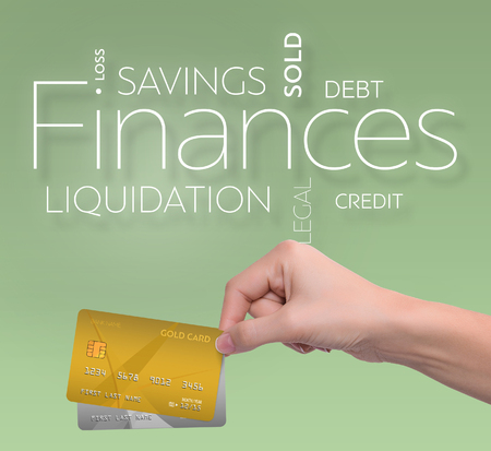 Business text on green background with two credit card 版權商用圖片