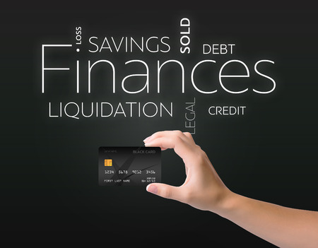 Business text on black background with black credit card 版權商用圖片