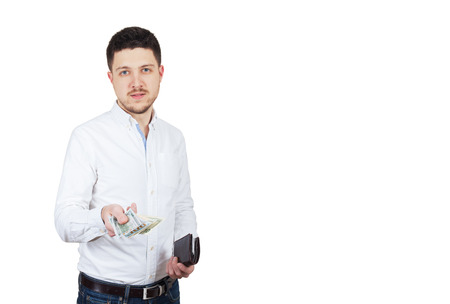 Man in white shirt offers money