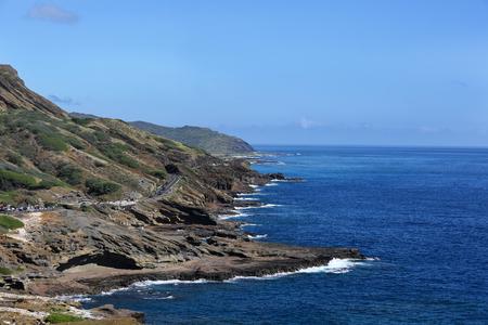 rocky shore coast seaside highway oahu Stock Photo
