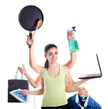 tasking: Active young woman with six hands representing multitasking machine.