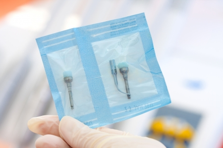 scaler: Dental brush and scaler tip used for profilaxis packed in a protective foil that keeps them sterile for very long time.