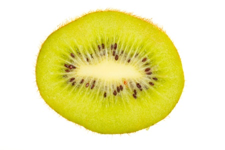half cut: Close-up view of a half cut kiwi -  isolated on white. Stock Photo