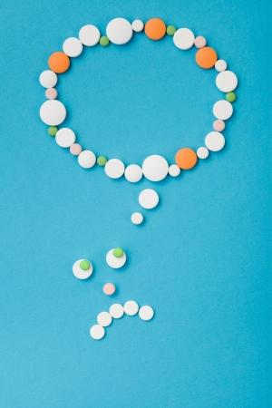 hallucination: Unhappy drugs on blue background - hallucination  thinking concept. Stock Photo