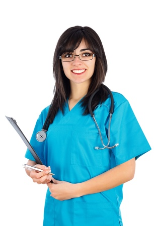 phisician: Medical people: brunette woman doctornurse with stethoscope and clipboard smiling isolated on white.