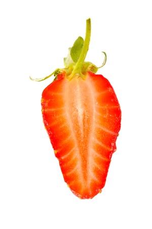 half cut: Close-up of a half cut strawberry.