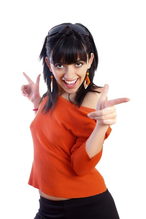 reacting: Girl having a good time while dancing isolated on white - part of a series. Stock Photo