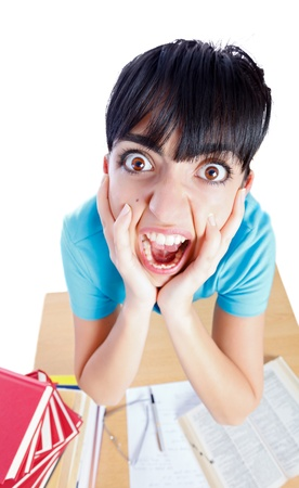 Stressed woman screaming while learning because of exhaustion isolated on white - part of a series.